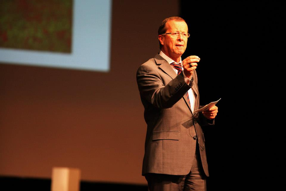 Kobler giving his speech at TEDxBaghdad 2012 stage
